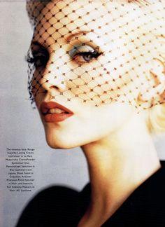 """Dial A Decade Glam Sham"", Harper's Bazaar, January 1995 Model: Nadja Auermann"