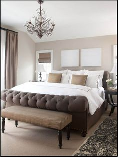 beige bedroom.. It could use a pop of color.