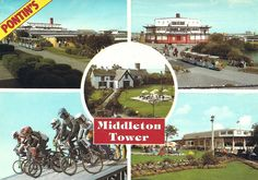 Pontin's Middleton Tower Holiday Camp in A fire in had destroyed one of the main entertainment buildings in Butlins, Morecambe, Blackpool, Vintage Holiday, Camps, Vintage Postcards, Old And New, Resorts, Childhood Memories
