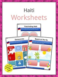 This is a fantastic bundle which includes everything you need to know about the Haiti across 20 in-depth pages. These are ready-to-use Haiti worksheets that are perfect for teaching students about the Haiti which is a country located in the Caribbean Sea. It covers the western third of Hispaniola Island and smaller islands like Gonâve, Tortue, Grande Caye, and Vache. Its capital is Port-au-Prince. Curriculum, Homeschool, Haiti Flag, Geography Worksheets, Port Au Prince, Famous Beaches, Second Language, Fifth Grade, Caribbean Sea