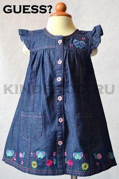 Pin by Virginia De La Hoz on leidy Girls Denim Dress, Little Girl Dresses, Girls Dresses, Frocks For Girls, Kids Frocks, Toddler Outfits, Kids Outfits, Baby Dress Patterns, Kind Mode