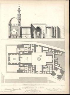 Sultan Hassan Mosque Mamluk Era Cairo 1870 antique engraved Architecture print