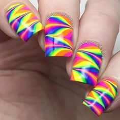 Amazing watermarble nails by @lacquerandspice using Pure Color 7 watermarble tool from whatsupnails.com (link in bio). S...