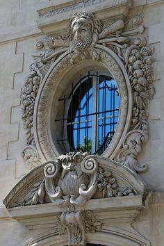 Ornate round window.