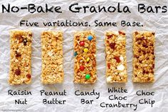 These granola bars do not need to be baked and are perfectly soft and chewy! I have five different recipe variations to try and they are gluten free as well
