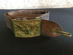 Vintage Brass Belt Buckle With Leather Belt