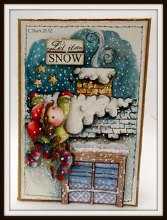 a touch of magnolia: Pixie Tilda on snowy roof - Christmas Story collection
