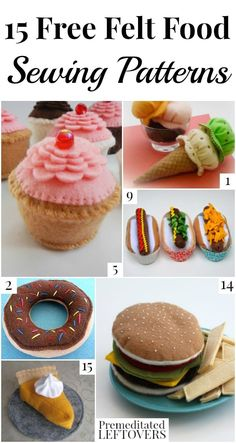 15 Free Felt Food Sewing Patterns Felt food is perfect for little foodies! They are easy to make and you can even wash them. Here are 15 free felt food sewing patterns to inspire you. Felt Play Mat, Felt Play Food, Play Mats, Easy Felt Crafts, Felt Diy, Simple Crafts, Clay Crafts, Felt Food Patterns, Sewing Patterns