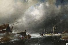 Charles Leickert - Winters rivierenlandschap
