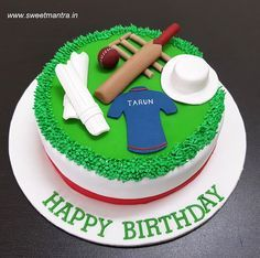 Cricket Theme Small Customized Designer Fondant Cake With Bat Ball Stumps Cap Pads For Lovers Birthday At Pune