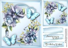 Beautiful porceline Roses and Blue Butterflys  on Craftsuprint designed by Ceredwyn Macrae - A lovely card to make and give with Beautiful Porceline roses and Blue Butterfly's has two greeting tags and a blank one  - Now available for download!
