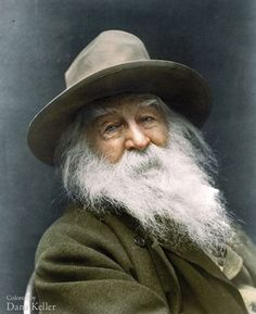 """Today marks the birthday of the great American poet Walt Whitman. Don't miss """"Whitman, Alabama,"""" on view through June """"Portrait of Walt Whitman,"""" by George Collins Cox Walt Whitman, Whitman Poems, Colorized Historical Photos, Colorized History, Historical Pics, Black White Photos, Black And White, Great Poems, Fantastic Quotes"""