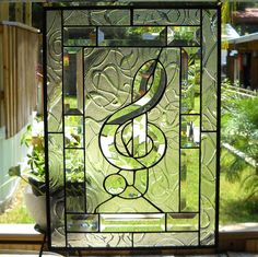 Musical Clef Stained Glass Panel for Window Treatment