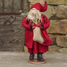 Red Santa Claus Statue With Stocking Z