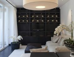 black feature wall with black shelving - kelly hoppen Bookshelves Built In, Built Ins, Living Room Inspiration, Interior Inspiration, Living Room Designs, Living Spaces, Living Rooms, Kelly Hoppen Interiors, Black Feature Wall