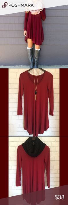 """{NEW} V Neck Long sleeve Red Wine Dress {NEW} V Neck Long sleeve Red Wine Dress Irregular Knee Hem. Material: Cotton & Polyester Size: Small Bust 35"""" Front Length 38"""" Back Length 43"""" Medium Bust 37"""" Front Length 40"""" Back Length 36"""" Large Bust 38"""" Front Le"""