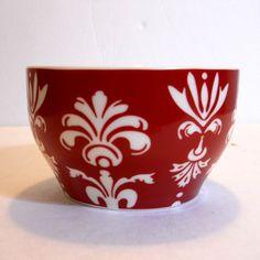 2010 Starbucks Coffee Mug New Bone China Red White Fleur De Lis No Handle #StarbuckCoffeeCompany