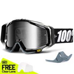 049851c2b47ee 100% Racecraft Goggles - Abyss Black Mirror Lens. Motocross Kit ...