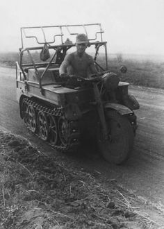 "SdKfz 2, better known as Kleines Kettenkraftrad HK 101 or Kettenkrad for short (Ketten means ""chain"" or ""tracks"" and krad is the military abbreviation of the German word Kraftrad, the administrative German term for motorcycle)"