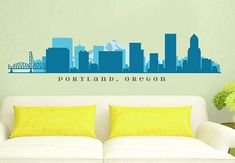 PORTLAND OREGON Skyline Wall Decal Art Vinyl by AmericanDecals. This is exactly what I pictured when I said I wanted the Portland Skyline across my back between my grandparent tattoos.