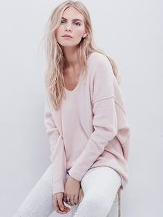 Softly Vee Sweater | Super soft and comfy this must-have sweater is a staple for the season.  Features a deep V-neck, exposed seam detailing, and dolman style sleeves.