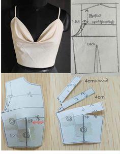 Dress Sewing Patterns, Blouse Patterns, Clothing Patterns, Blouse Designs, Fashion Sewing, Diy Fashion, Fashion Outfits, Diy Clothing, Sewing Clothes