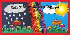 Rain or Shine, We Grow Together! - Spring Bulletin Board Idea (Maybe something like Rain or Shine, Jesus is Mine) Black Bulletin Boards, Weather Bulletin Board, Rainbow Bulletin Boards, Bulletin Board Paper, Summer Bulletin Boards, Preschool Bulletin Boards, Classroom Bulletin Boards, Classroom Decor, Bullentin Boards