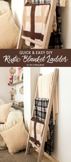 This Quick & Easy DIY Rustic Blanket Ladder is perfect for people like me that has little experience working with wood! The perfect wood startup project!