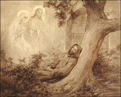 Christus weist Franziskus auf Maria hin