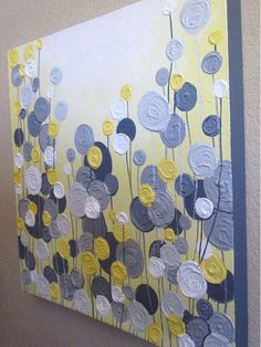 Canvas Painting @ DIY Home Crafts Browns for bedroom Crafts To Do, Home Crafts, Kids Crafts, Arts And Crafts, Grey Abstract Art, Grey Art, Abstract Flowers, Painting Flowers, Cuadros Diy