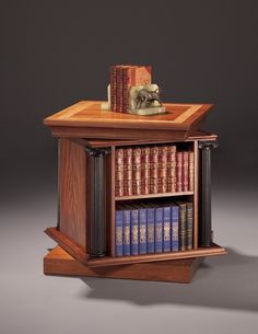 Revolving bookcase is a design of furniture for book storage and organization ideas. Rotating or spinning bookcase can be amazing for kids' home library Hidden Gun Storage, Book Storage, Revolving Bookcase, Bookcases For Sale, Bookshelves, Secret Compartment, Fine Woodworking, Woodworking Ideas, Antique Furniture