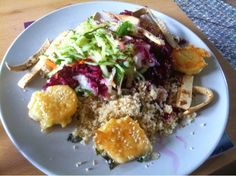 J(and)Me - Cooking Jamie: Grated Rainbow Salad & Sesame Feta Fritters