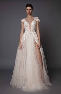muse berta fall 2017 bridal cap sleeves deep plunging v neck heavily embellished bodice lace tulle skirt high side slit romantic sexy a line wedding dress open low back sweep train (antonia) mv -- Muse by Berta Fall 2017 Wedding Dresses Best Wedding Dresses, Bridal Dresses, Wedding Styles, Wedding Gowns, Prom Dresses, Bridesmaid Dresses, Evening Dresses, High Low Wedding Dresses, Blush Lace Wedding Dress