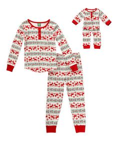 Look what I found on #zulily! Ivory & Red Fair Isle Pajama Set & Doll Outfit - Kids & Tween #zulilyfinds