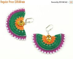 ❘❘❙❙❚❚ ON SALE ❚❚❙❙❘❘  Earrings-Bohemian Crochet Statement Earrings, Beadwork Jewelry, Ethnic Big Earrings, Geometric Earrings, Textile Jewelry, Fiber Jewelry  Heavy on the details, feather light to the ears!  ALL Pinara Design jewelries are INCREDIBLY lightweight!! You wont even know youre wearing them (except youll look AMAZING)!!!!  For all my designs, I use an ancient Anatolian lace technique that dates back thousands of years and use very slim high quality embroidery thread. Every mm…