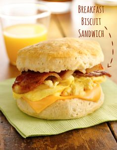 "I'd make homemade biscuits. No cans please. Nothing say ""YUM!"" like bacon and eggs. Combine them together with biscuits like this hearty breakfast bite!"