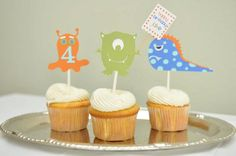 Monster party cupcake toppers Monster party Monster by Robin519, $18.00