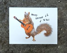 A squirrel with a guitar sings Happy Birthday to You! Print out this squirrely birthday card at home. The image is a x 5 JPG x 1500 px) and Happy Birthday Printable, Happy Birthday Wishes Quotes, Birthday Greetings, Happy Birthday Guitar, Singing Happy Birthday, Happy Birthday Squirrel, Hapoy Birthday, Squirrel Pictures, Birthday Clips