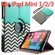 For Apple iPad air Case Smart PU Leather 360 Rotating Waves Flip Stand Funda Cover For iPad 2/3/4 For Mini 1/2/3 For iPad Pro