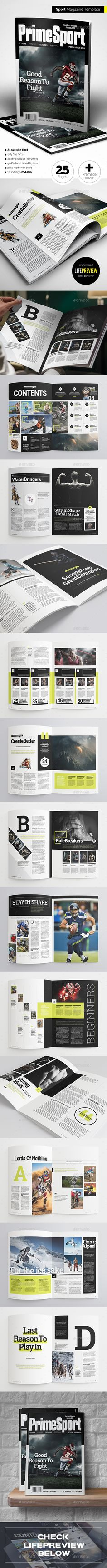 Sport Magazine — InDesign INDD #football magazine #sport • Available here → https://graphicriver.net/item/sport-magazine/15932541?ref=pxcr