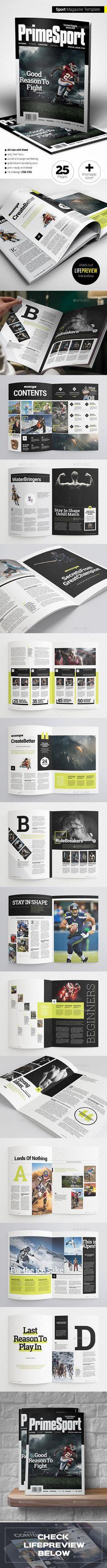 Sport Magazine Template InDesign INDD. Download here: http://graphicriver.net/item/sport-magazine/15932541?ref=ksioks
