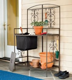 Rust-Resistant Steel Scroll Potting Bench with Lift-Out Soil Reservoir