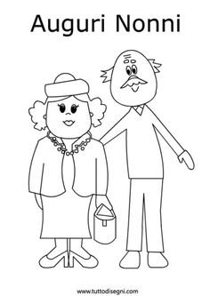 disegni-da-colorare-nonni Grandparents Day, Doodle Drawings, Coloring Pages, Diy And Crafts, Preschool, Doodles, Clip Art, Embroidery, Cards
