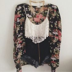 vintage floral kimono/cardigan + lace cropped tank + high waisted denim cut off shorts