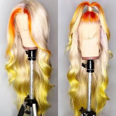 Cheap Human Hair Lace Wigs, Buy Directly from China Suppliers:Customized 613 Lace Front Wig 180 Density Pre Plucked Brazilian Body Wave Wig Human Hair Ombre Lace Frontal Wigs Remy Brown Ombre Hair, Ombre Hair Color, Blonde Color, Butter Blonde, Hair Colorful, Blonde Lace Front Wigs, Colored Wigs, Colored Weave, Ombré Hair