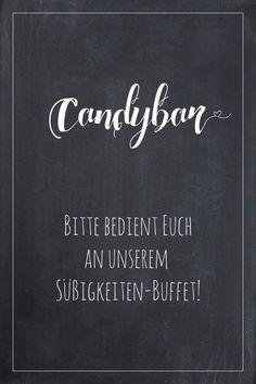 Candybar Schild für die Hochzeit im Tafel-Look. Finde bei uns viele weitere Vorlagen für Schilder in über 20 verschiedene Farben!