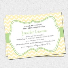 Baby Shower Invitation Printable Yellow Green Gender Neutral Chevron Stripes Diy