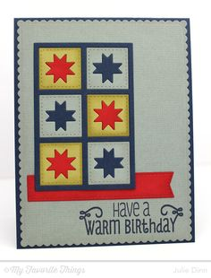 Cozy Quilt Card by Kreative Jewels - Cozy Greetings, Linen Background, Blueprints 20 Die-namics