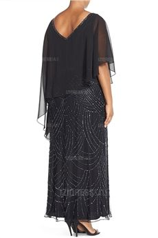 Sheath/Column V-neck Ankle-length Chiffon Mother of the Bride Dress