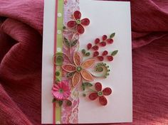 Quilled Flower Greeting Card Pink and Peaches